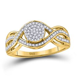 Womens Round Diamond Twist Circle Cluster Ring 1/3 Cttw 10kt Yellow Gold - REF-21Y5N