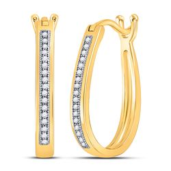 Womens Round Diamond Oblong Hoop Earrings 1/10 Cttw 10kt Yellow Gold - REF-16K9Y