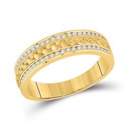 Mens Round Diamond Wedding Braided Inlay Band Ring 1/3 Cttw 14kt Yellow Gold - REF-58H9R