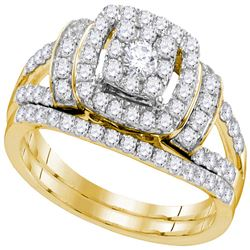 Round Diamond Bridal Wedding Ring Band Set 1 Cttw 14kt Yellow Gold - REF-82X5A