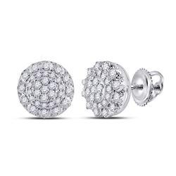Womens Round Diamond Cluster Earrings 1/2 Cttw 14kt White Gold - REF-39N5F