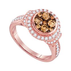 Womens Round Brown Diamond Cluster Ring 1 Cttw 14kt Rose Gold - REF-80X9A