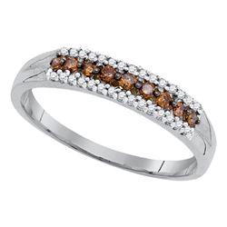 Womens Round Brown Diamond Band Ring 1/5 Cttw 10kt White Gold - REF-12F5W