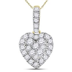 Womens Round Diamond Heart Pendant 1/3 Cttw 14kt Yellow Gold - REF-21A5M