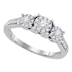 Round Diamond 3-stone Bridal Wedding Engagement Ring 1/2 Cttw 14kt White Gold - REF-54M9H