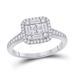 Womens Baguette Diamond Square Cluster Ring 3/4 Cttw 14kt White Gold - REF-63H9R
