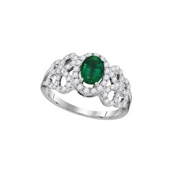 Womens Oval Emerald Solitaire Diamond-accent Ring 1 Cttw 18kt White Gold - REF-159F9W