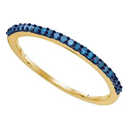 Womens Round Blue Color Enhanced Diamond Band Ring 1/5 Cttw 10kt Yellow Gold - REF-9K9Y