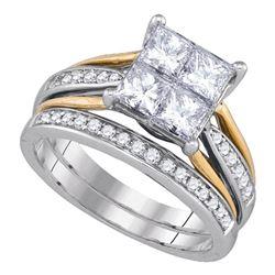 Princess Diamond 2-tone Bridal Wedding Ring Band Set 2 Cttw 14k White Gold - REF-288M5H
