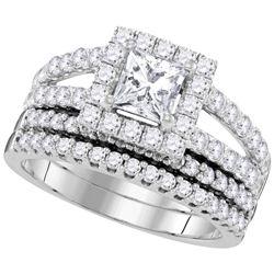 Princess Diamond Bridal Wedding Ring Band Set 3/4 Cttw 14kt White Gold - REF-99Y5N