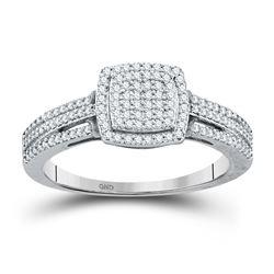 Round Diamond Cluster Bridal Wedding Engagement Ring 1/4 Cttw 10kt White Gold - REF-18H5R