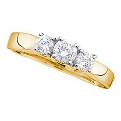 Round Diamond 3-stone Bridal Wedding Engagement Ring 3/4 Cttw 14kt Yellow Gold - REF-64R5X