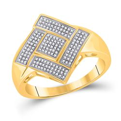 Mens Round Diamond Diagonal Offset Square Ring 1/3 Cttw 10kt Yellow Gold - REF-37F9W