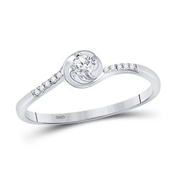 Womens Round Diamond Solitaire Promise Ring 1/10 Cttw 10kt White Gold - REF-8W9K