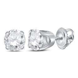 Unisex Round Diamond Solitaire Stud Earrings 3/4 Cttw 14kt White Gold - REF-63X9A