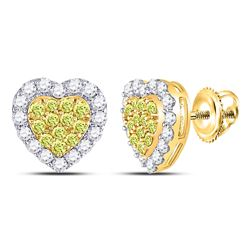 Womens Round Yellow Diamond Heart Cluster Earrings 1-1/3 Cttw 14kt Yellow Gold - REF-79R9X