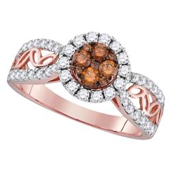 Womens Round Brown Diamond Circle Frame Cluster Ring 1 Cttw 10kt Rose Gold - REF-52N9F