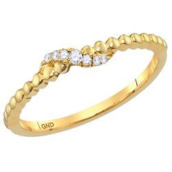 Womens Round Diamond Crossover Stackable Band Ring 1/20 Cttw 14kt Yellow Gold - REF-13K9Y