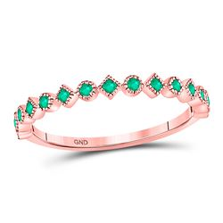 Womens Round Emerald Square Dot Stackable Band Ring 1/5 Cttw 10kt Rose Gold - REF-10H5R