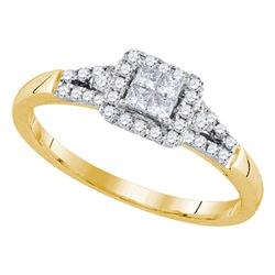 Princess Diamond Square Frame Cluster Ring 1/3 Cttw 14kt Yellow Gold - REF-34K5Y