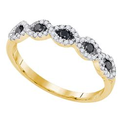 Womens Round Black Color Enhanced Diamond Band Ring 1/3 Cttw 10kt Yellow Gold - REF-18Y9N