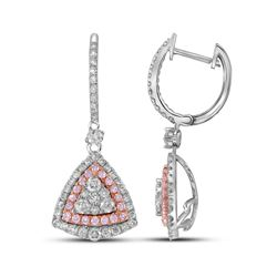 Womens Round Pink Diamond Triangle Dangle Earrings 1-1/2 Cttw 14kt White Gold - REF-131A5M