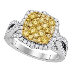 Womens Round Yellow Diamond Canary Cluster Ring 1-1/2 Cttw 14kt White Gold - REF-120A5M