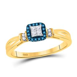 Womens Princess Blue Color Enhanced Diamond Fashion Ring 1/6 Cttw 14kt Yellow Gold - REF-25M5H