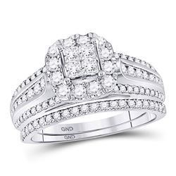 Princess Diamond Bridal Wedding Ring Band Set 1 Cttw 14kt White Gold - REF-79M5H