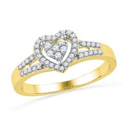 Womens Round Diamond Heart Ring 1/5 Cttw 10kt Yellow Gold - REF-18F9W