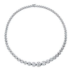 13 CTW Diamond Necklace 18K White Gold - REF-1124Y3X