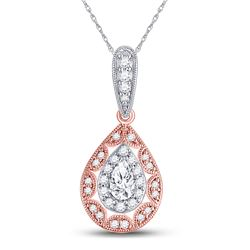 Womens Pear Diamond Halo Solitaire Pendant 3/8 Cttw 14kt Two-tone Gold - REF-36R9X