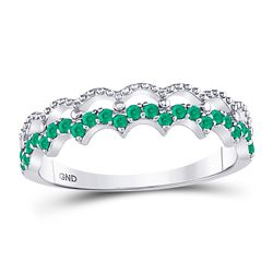 Womens Round Emerald Scalloped Stackable Band Ring 1/4 Cttw 10kt White Gold - REF-10M5H