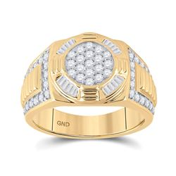 Mens Round Diamond Circle Cluster Ring 1 Cttw 10kt Yellow Gold - REF-85X9A