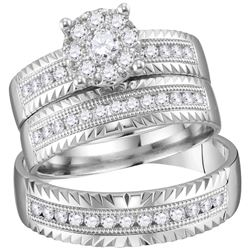 His Hers Round Diamond Cluster Matching Wedding Set 3/4 Cttw 14kt White Gold - REF-99N5F