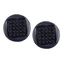 Mens Round Black Color Enhanced Diamond Circle Cluster Stud Earrings 1/6 Cttw 10kt White Gold - REF-