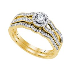 Round Diamond Milgrain Bridal Wedding Ring Band Set 3/8 Cttw 10kt Yellow Gold - REF-41K9Y