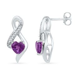 Womens Heart Amethyst Diamond Fashion Earrings 1/20 Cttw 10kt White Gold - REF-14H9R