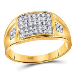 Mens Round Prong-set Diamond Square Cluster Ring 1/4 Cttw 10kt Yellow Gold - REF-25A5M