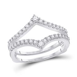Womens Round Diamond Ring Guard Wrap Enhancer Wedding Band 1/2 Cttw 14kt White Gold - REF-44W5K