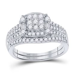 Round Diamond Bridal Wedding Ring Band Set 3/4 Cttw 10kt White Gold - REF-49Y9N