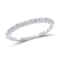 Womens Round Diamond Stackable Band Ring 1/20 Cttw 10kt White Gold - REF-7K5Y