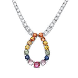 10.13 CTW Multi-Color Sapphire & Diamond Necklace 18K White Gold - REF-498R7K