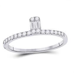 Womens Baguette Diamond Band Ring 1/4 Cttw 14kt White Gold - REF-21M5H