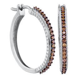 Womens Round Brown Diamond Single Row Hoop Earrings 1/2 Cttw 10kt White Gold - REF-32Y5N