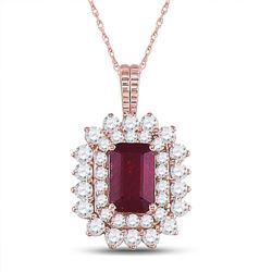 Womens Emerald Ruby Diamond Halo Pendant 7/8 Cttw 14kt Rose Gold - REF-38F9W