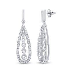 Womens Round Diamond Teardrop Dangle Earrings 3/4 Cttw 14kt White Gold - REF-60F9W
