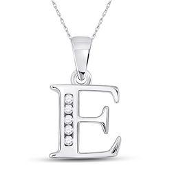 Womens Round Diamond E Initial Letter Pendant 1/20 Cttw 10kt White Gold - REF-6M5H