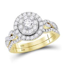 Round Diamond Twist Bridal Wedding Ring Band Set 1 Cttw 14kt Yellow Gold - REF-87K5Y