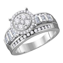 Round Diamond Cluster Bridal Wedding Engagement Ring 1/2 Cttw Size 6 10kt White Gold - REF-30H9R